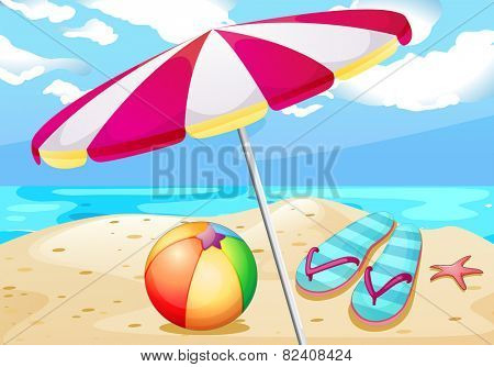 Illustration of beach view with umbrealla and beachball