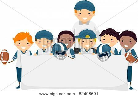 Stickman Illustration of Boys in Football Gear Holding a Banner