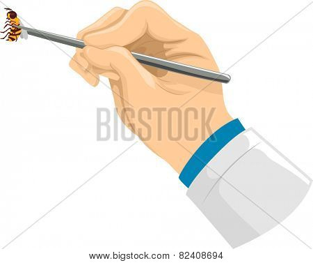 Illustration of a Doctor Using a Pair of Tweezers to Pick Up a Bee