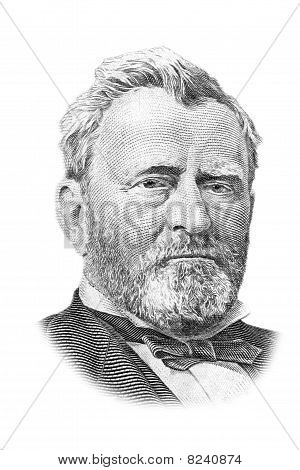Ulysses S. Grant Portrait On Fifty Dollars Bill. Isolated On White.