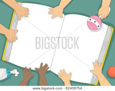 Background Illustration of Babies Examining a Book