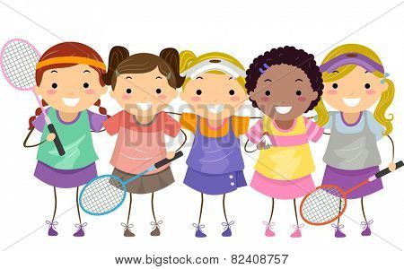 Stickman Illustration of Girls in Badminton Gear
