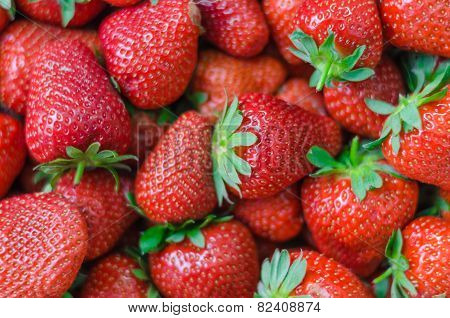Fresh Ripe Perfect Strawberries Full Frame Background
