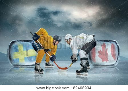 Ice hockey players on the ice. Sweeden vs Canada.