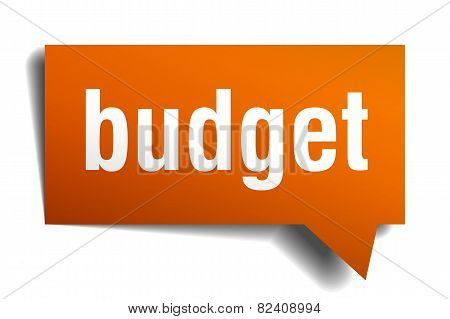 Budget Orange Speech Bubble Isolated On White