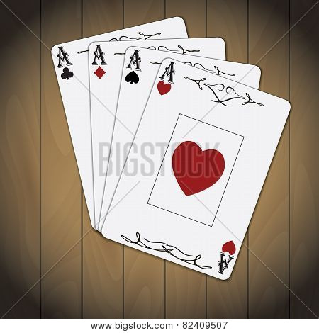 Ace Of Spades, Ace Of Hearts, Ace Of Diamonds, Ace Of Clubs Poker Cards Varnished Wood Background
