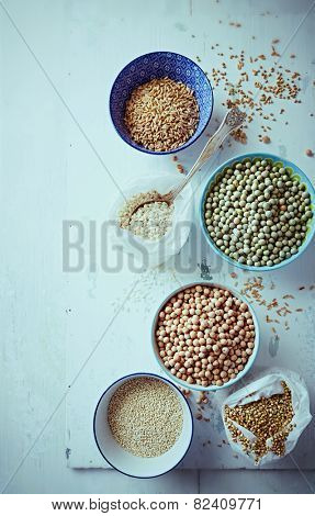 Various types of pulses, rice, quinoa and buckwheat