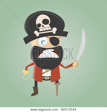 funny cartoon pirate is angry