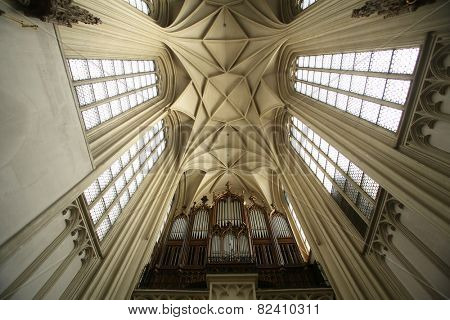 VIENNA, AUSTRIA - OCTOBER 10: Interior of Maria am Gestade church in Vienna. Famous gothic church was consecrated in 1414 and is one of oldest churches in Vienna, Austria on October 10, 2014.