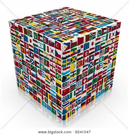 3d world flags  box