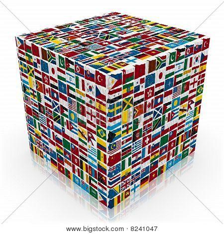 3d world flags  box