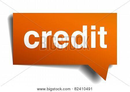 Credit Orange Speech Bubble Isolated On White