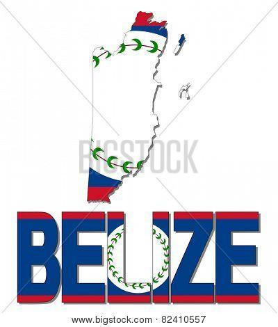 Belize map flag and text illustration