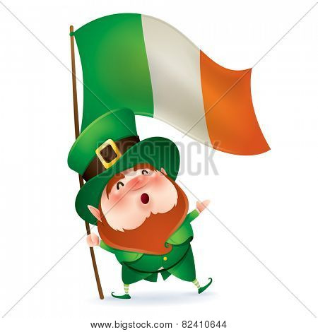 Leprechaun holding flag of Ireland