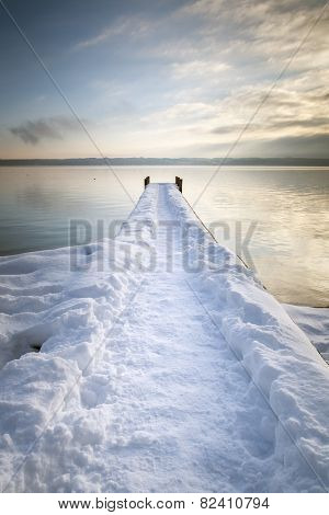 An image of the wooden jetty at Tutzing Bavaria Germany