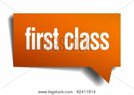 First Class Orange Speech Bubble Isolated On White