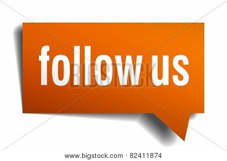 Follow Us Orange Speech Bubble Isolated On White