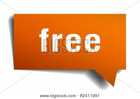 Free Orange Speech Bubble Isolated On White