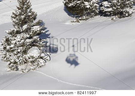 Shadow Of A Skier On A Skilift