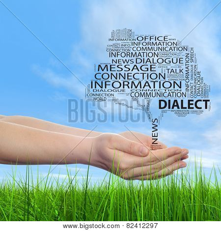 Concept conceptual tree word cloud tagcloud, man or woman hand on blue sky green background, metaphor to communication speech, message, mail, dialog, talk, contact, email, connection, news or internet