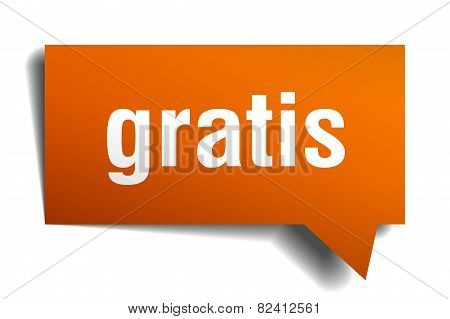 Gratis Orange Speech Bubble Isolated On White