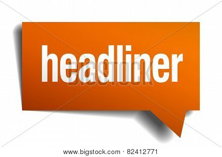 Headliner Orange Speech Bubble Isolated On White