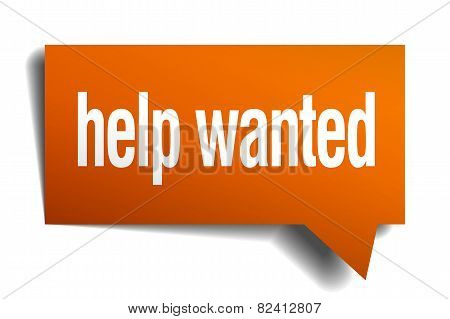 Help Wanted Orange Speech Bubble Isolated On White