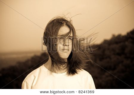 Portrait Of A Teenager. Wind.