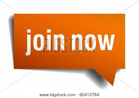 Join Now Orange Speech Bubble Isolated On White