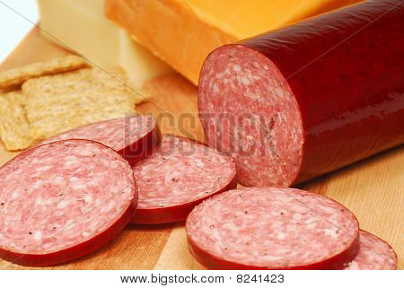 Salami With Cheese And Crackers