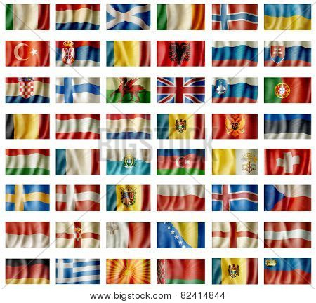 European waving flags