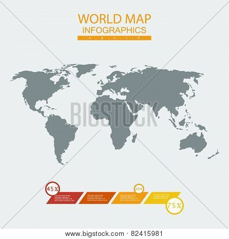 Vector world map chart.