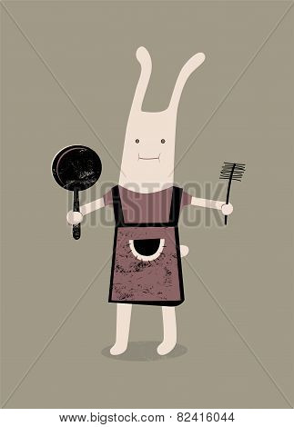 Cartoon rabbit with a frying pan and brush in hand. Vector illustration.