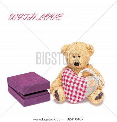 Cute Teddy Bear With A Heart And Gift Box For Jewelry