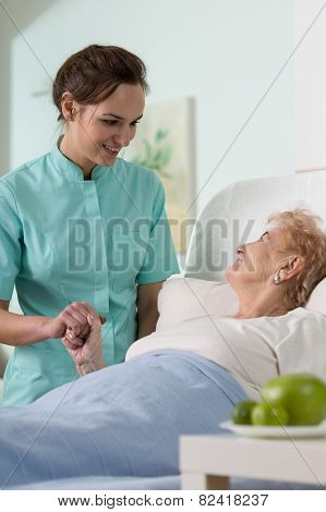 Ill Senior Woman In Hospital