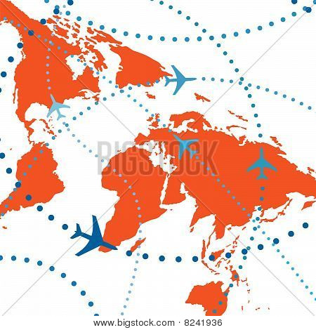 World Map Airplane Flight Travel Plans Connections