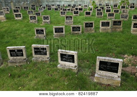 TEREZIN, CZECH REPUBLIC - APRIL 11, 2014: Jewish Cemetery, where Jewish victims of the Ghetto Terezin are buried in Terezin, Czech Republic.