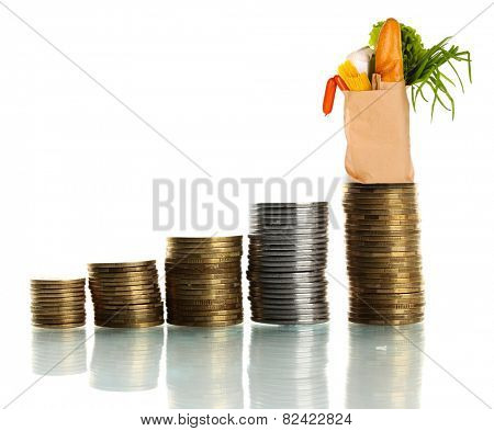 Paper bag with food standing on stack of coins isolated on white