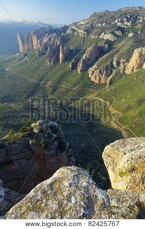 Rock spires known as Mallos de Riglos, Huesca, Aragon, Spain