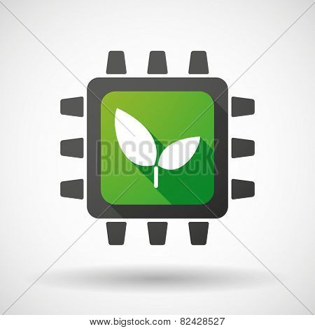 Cpu Icon With A Plant