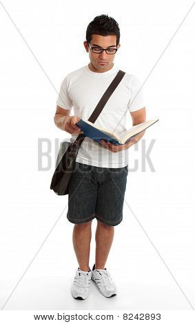Standing Student Reading Book Studying