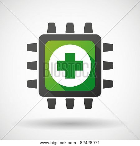 Cpu Icon With A Pharmacy Sign