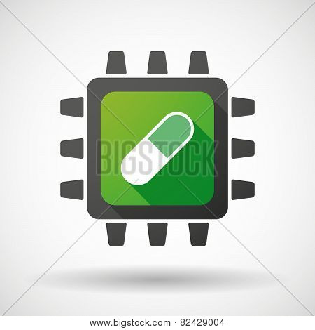 Cpu Icon With A Pill