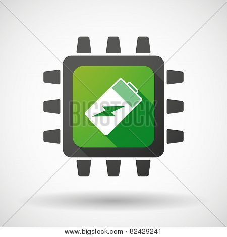 Cpu Icon With A Battery