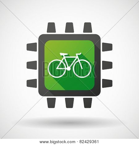 Cpu Icon With A Bicycle