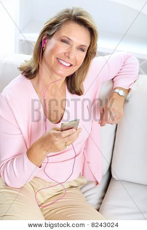 Woman With A Mp3 Player
