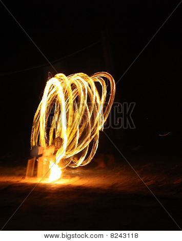 Fire Dancer At Night
