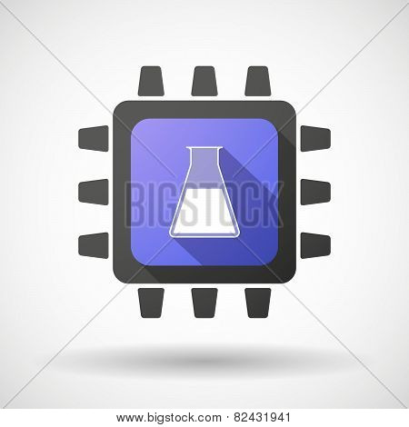 Cpu Icon With A Chemical Test Tube