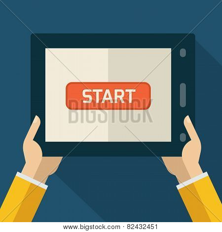 Colorful Flat Touch Interface With Start Button. Hand Using And Touching Screen. Vector Flat Design