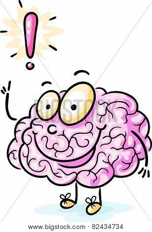 Cartoon brain having an idea